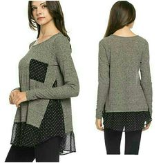 THE LESLIE POLKA DOT TOP How cute is this! Gray long sleeve knitted  top with black sheer with white polka dot bottom hem, sides, & front pocket ℹ Available in S,M,L ℹMaterial is polyester & spandex ℹMade in USA ℹPrice is final Tops Blouses