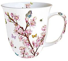 Ambiente Große Porzellan Tasse Becher Teetasse Mug 0,4 L Blossom Rose Weiss Rosa Fine Bone China