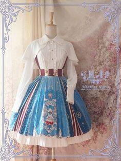 Heather & Iris -Hail Captain America- Lolita Skirt/Salopette -out Kawaii Fashion, Lolita Fashion, Cute Fashion, Fashion Styles, Pretty Outfits, Pretty Dresses, Beautiful Dresses, Kawaii Dress, Kawaii Clothes