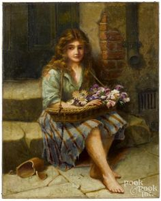 Oil on canvas peasant girl with flowers, ca. 1900, signed Fred Walmsley lower left, 30'' x 24''