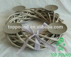 Christmas Wicker Wreath With 4 Candle Holder With Ginham Ribbon (46-10089-35) - Buy Metal Christmas Candle Holder,Christmas Wreath Candle Holder,Advent Wreath With 4 Metal Candle Holder Product on Alibaba.com