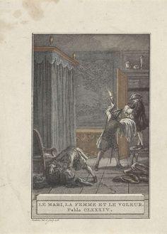 Reinier Vinkeles | Het echtpaar en de dief, Reinier Vinkeles, 1776 | Drie mannen verplaatsen spullen in een slaapkamer, bij het licht van een kaars. Illustratie van Fabel CLXXXIV, Le Mari, La Femme et le Voleur.