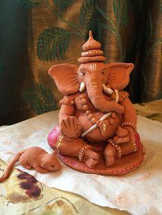 made this eco-friendly ganesha from crayola airdry clay bought from michaels Clay Ganesha, Ganesha Art, Lord Ganesha, Lord Durga, Lord Shiva, Diy Clay, Clay Crafts, Eco Friendly Ganesha, Ganpati Decoration Design