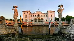 Vizcaya Museum and Gardens, Miami, Florida, USA. This Gilded Age mansion was the estate of businessman James Deering. Built between 1914 and 1916, it features the main house, a stone barge, a 10 acre garden, and a rockland native forest.