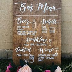 Wedding Bar Menu Sign – Rustic Wooden Wedding Alcohol Selection Sign Wedding Signs, Rustic and Chalkboards for Businesses, Events and Home. Custom Handmade Signage for all of your events! Rustic Wedding Signs, Wedding Signage, Wedding Menu, Wedding Reception Decorations, Budget Wedding, Wedding Tips, Wedding Planning, Wedding Centerpieces, Wedding Ceremony
