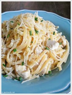 Lemon Parmesan Pasta with Chicken...this would be good with vegetables or seafood such as shrimp, scallops or salmon