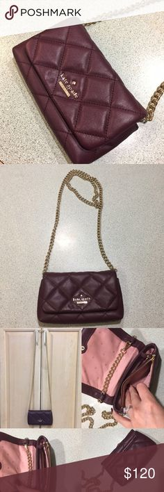 "♠️Kate Spade Wine Colored Quilted Cross Body♠️ Wine colored quilted Kate Spade ♠️ cross body. Strap is approx 46"" in length, not overly long. Bag is approx 7"" across. Doesn't hold a TON of stuff so keep that in mind. It's good for cash/cards, etc. gold tone hardware. I did not purchase this item myself from a Kate Spade store (it was a gift) but I believe it to be authentic and have no reason not to. I've worn it less than 5 times, bag is in PRISTINE condition. I keep my things nice 😉. Any…"