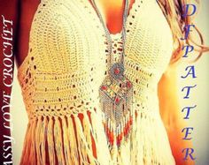 Crochet Halter Top Glamorous Fringe PATTERN by SassyloveCrochet