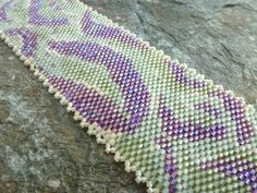 Bracelet in Purple and Green Seed Beads Mother's by SierraBeader, $155.00