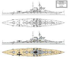 HMS Tiger Modernisation ala Warspite by Tzoli on DeviantArt Naval History, Military Weapons, Navy Ships, Military Equipment, Royal Navy, Battleship, Warfare, Scale Models, Military Vehicles