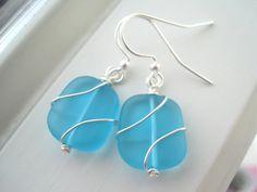 Blue Sea Glass Earrings  Sea Glass Jewelry  by Sparkleandswirl