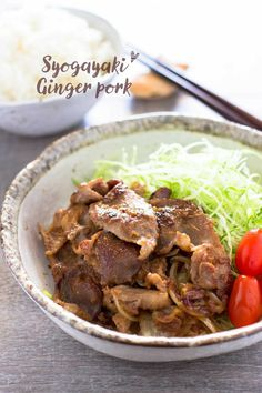 Ginger pork Shogayaki 豚の生姜焼き Shogayaki is Japanese ginger pork which pork meat fried and cooked in soy sauce, mirin, and ginger juice. I am going to share Japanese peoples' favourite dish. Pork Recipes, Asian Recipes, Cooking Recipes, Ethnic Recipes, Asian Foods, Hawaiian Recipes, Cooking Pork, Vietnamese Recipes, Asian Cooking