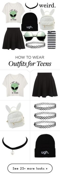 """I don't believe in humans...says the alien"" by corgi4life on Polyvore featuring New Look, Revo, cutekawaii, Kate Spade, cute, classic, chic and blackandwhite"