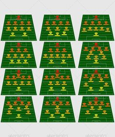 Football tactical schemes by bright_green Basic football tactical schemes. No transparency. Layered and well organised AI andEPSfiles. Football Coaching Drills, Soccer Training Drills, Soccer Drills For Kids, Football Workouts, Soccer Practice, Soccer Skills, Football Formations, Football Tactics, Soccer Positions