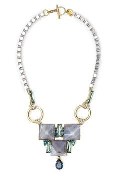 Blue And Green Square Stones Statement Necklace by Anton Heu