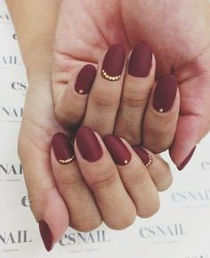 Maroon Nails with Gold Dots for Prom