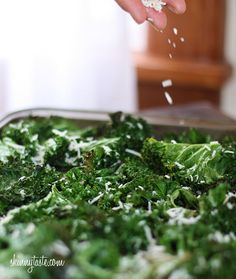 Parmesan kale chips- eeeeeaaaassssy.  Great for a nommy crunch!  Mine took less time than the recipe calls for, and I think the key is to make your pieces as evenly sized as possible.