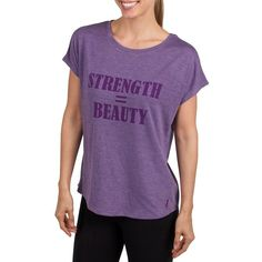 Jockey Burnout Inspirational Message Graphic Tee ($25) ❤ liked on Polyvore featuring tops, t-shirts, purple, graphic t shirts, short sleeve tops, burnout tees, graphic design tees and burn out tee