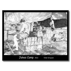 Jakes Camp Post Card artwork by Peter Grayson
