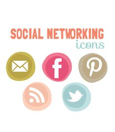 Social Networking Icons - Modern circles web buttons Blog buttons - Wedsite icons. $6.00, via Etsy.