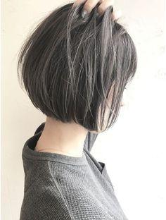 Brown x grey Asian Short Hair, Short Hair Cuts, Medium Hair Styles, Short Hair Styles, Dark Brunette Hair, Bob Hair Color, Girls Short Haircuts, Hair Arrange, Love Hair