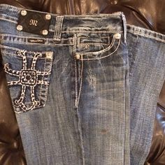 Miss Me Bootcut Jeans Currently starched. Great condition besides a few stones missing. Miss Me Jeans Boot Cut