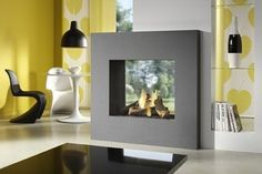 contemporary double-sided fireplace (gas closed hearth) LARGO TUNNEL SLIM LINE II DRU