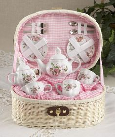 So girly! Tea pots and cups - loved to play tea party