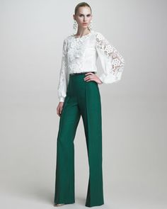 Blouse with Embroidered Lace & Twill High-Waisted Pants by Oscar de la Renta at Bergdorf Goodman.