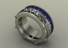14k White Gold Modern Wedding Band for Men with Diamonds by VOLISA, $1800.00
