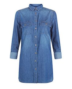 Blue Denim Longline Shirt  | New Look