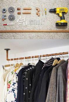 DIY small storage ideas DIY kleine Speicherideen No related posts. Bedroom Storage, Bedroom Decor, No Closet Bedroom, Dresser In Closet, Hallway Closet, Master Closet, Affordable Storage, No Closet Solutions, Small Storage