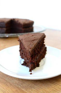 Hershey's Chocolate Chocolate Cake ~mama's recipe...Used almond milk instead of cow milk and pumpkin instead of veg oil. Still AMAZING!