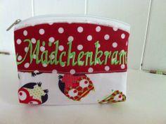 Kosmetiktasche/Schminktasche Pot Holders, Coin Purse, Wallet, Purses, Handmade, Kid Shoes, Script Logo, Fabrics, Handarbeit