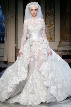 Gold Blue wedding dress gown | Wedding dress from Zuhair Murad Couture gowns Spring Summer 2010 .. Almost a style for a muslim wedding dress , if it was not see through etc..