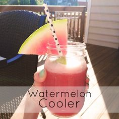 Watermelon Cooler - 1/4 watermelon cubed, 1/2 pint lemon sorbet, couple basil leaves, 1/2 cup pineapple flavored coconut water, blend & pour, spike as needed!