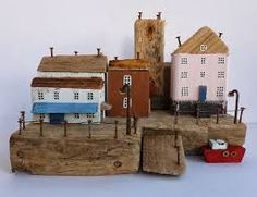 Kirsty Elson Original unique sculpture from Cornwall, using driftwood, rusty nails and any other j. Driftwood Sculpture, Driftwood Art, Wooden Art, Wooden Crafts, Kirsty Elson, Driftwood Projects, Ceramic Houses, Wooden Houses, House Ornaments