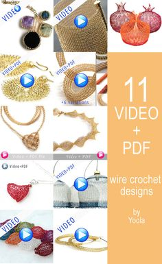 Extended Wire Crochet patterns combination - VIDEO plus PDF patterns - step by step - Instant digital download -  jewelry instructions
