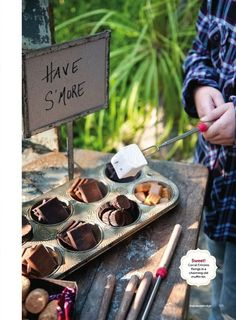 Fun idea for a camping themed party or for regular camping (except I'd have to haul the muffin tin - and not sure it is worth taking up the extra space). #entertainment #party