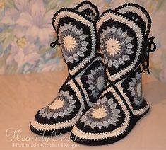 Crochet Sole, Crochet Boots, Easy Crochet, Crochet Clothes, Knit Crochet, Christmas Crochet Patterns, Crochet Blanket Patterns, Knitted Slippers, Wool Yarn