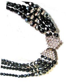 50s Swarovski Necklace Choker Brilliant Black AB by MushkaVintage3