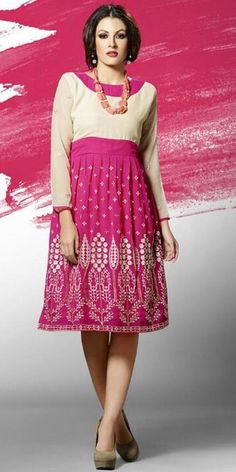 Blushing Pink And Cream Georgette Kurti.