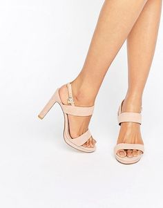Maye Blush Suede Heeled Sandals by Dune Bridal. Heels by Dune, Suede upper, Slingback strap, Pin-buckle fastening, Open toe, Platform sole, Chunky high heel, Treat w...