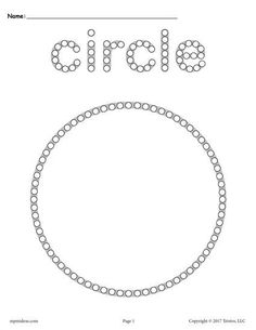 Circle worksheets like this one are perfect for toddler age, preschool, and kindergarten. Not only will this circle Q-tip painting printable help with shape recognition, but it's also great for fine. Circle Crafts Preschool, Preschool Printables, Preschool Worksheets, Preschool Learning, Kindergarten Math, Preschool Activities, Preschool Shapes, Time Activities, Toddler Learning