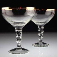 2 Vintage Gläser Champagnerschalen Sektgläser Goldrand Sektschalen gewellt