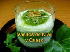 Vasitos de kiwi y crema de queso. Un postre delicioso y muy fácil de hacer.