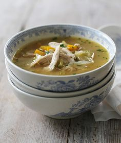 Pure soul food, this warming, easy chicken soup makes the most of leftover roast chicken.