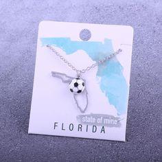 Customizable! State of Mine: Florida Soccer Enamel Necklace