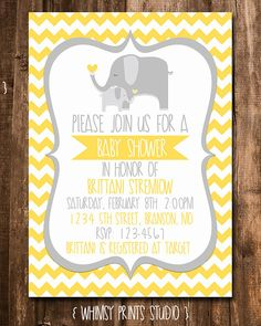 Gender Neutral Elephant Shower Invitation Yellow Grey Chevron Elephants Baby Shower Invite Digital Printable Party Invite No. 16