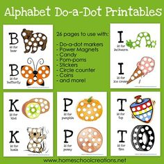 Alphabet Do-a-Dot Printables - 26 pages of ABC based printables to use with do-a-dot markers or other fun items! via homeschoolcreations.net
